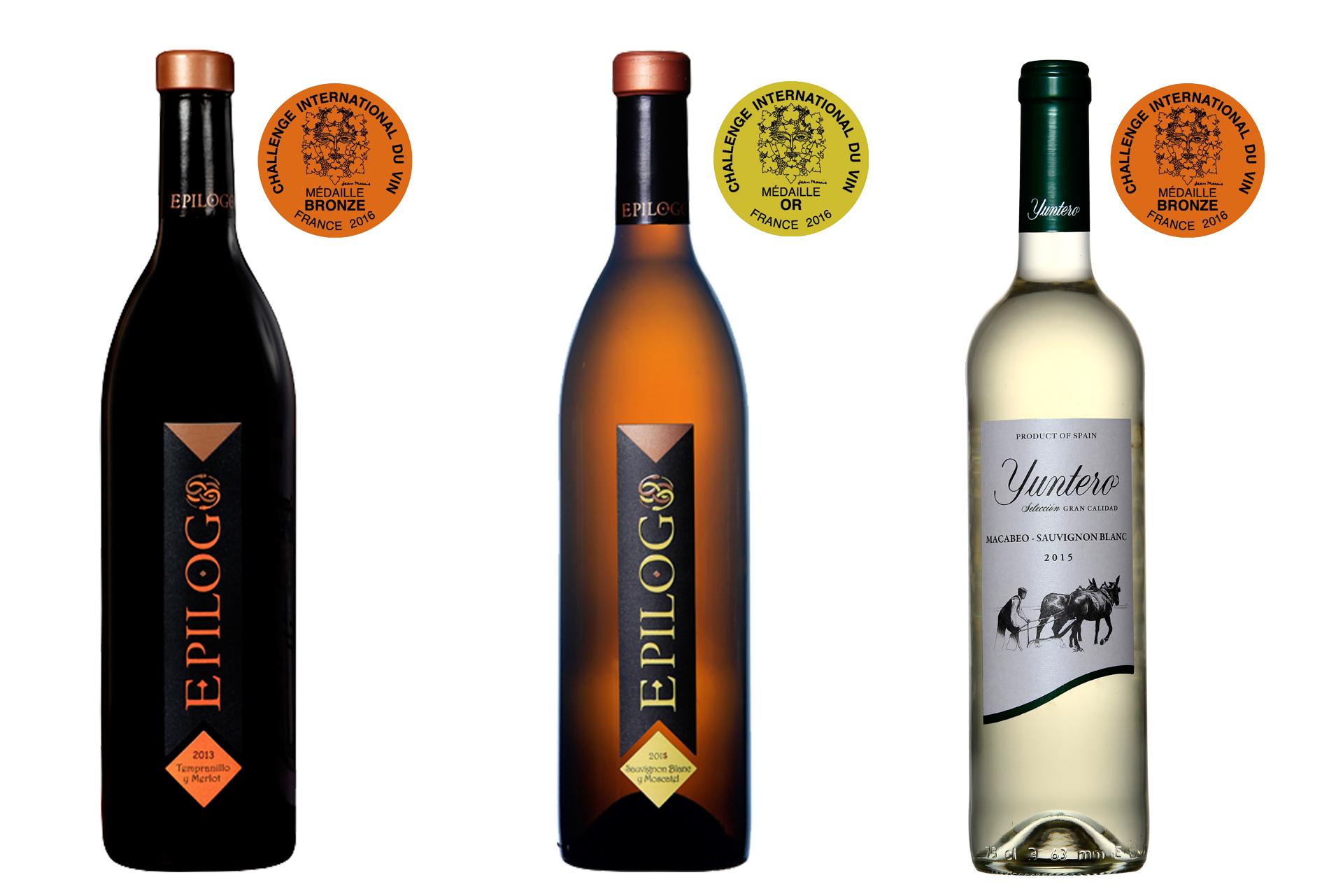 Bodegas Yuntero premiada con tres medallas en el concurso Challenge International du Vin de Francia